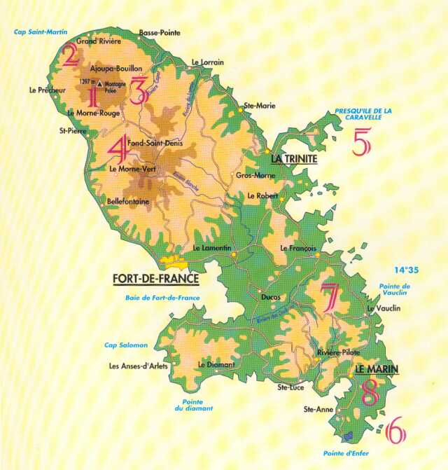 Sentiers balisés pour randonnées en Martinique